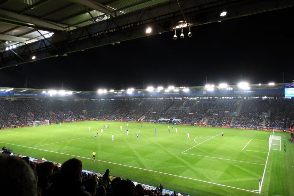 Le terrain de Leicester City, entretenus avec des tondeuses hélicoïdales